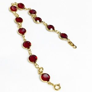 80s Garnet Red Bezel Swarovski Crystal Bracelet